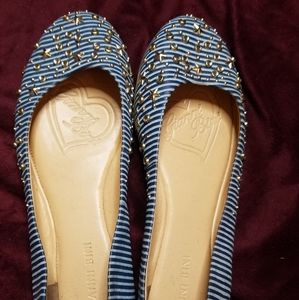 Gianni Bini blue striped and studded flats